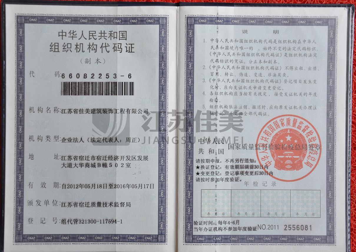 组织机构代码证(副)